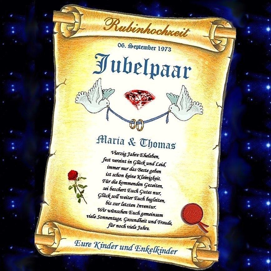 Geschenke Zur Rosenhochzeit  RUBINHOCHZEIT Rubin Hochzeit 40 Hochzeitstag GESCHENK