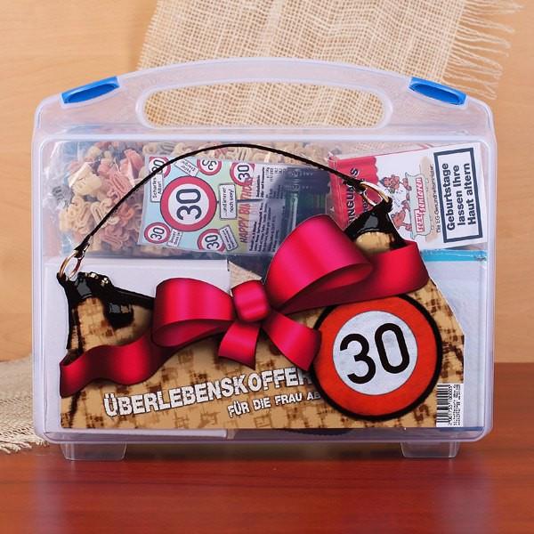 Geschenkideen Frauen 30  Koffer zum 30 Geburtstag für Frauen gefüllt mit 8 lustige