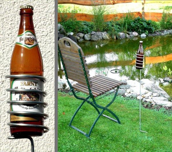 Geschenkideen Garten  Bierflaschenhalter für den Garten Geschenk für