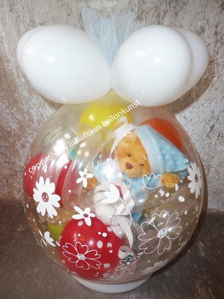 Geschenkideen Taufe Junge  Taufe Geburt Geschenk im Ballon Geschenkverpackung