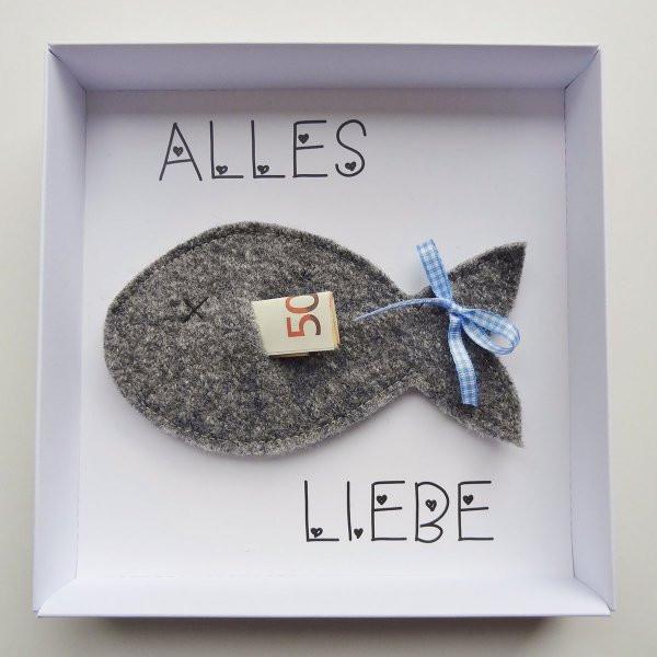 Geschenkideen Taufe Junge  Geldgeschenk Verpackung Fisch blau online kaufen