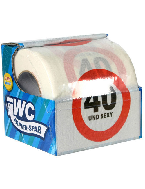 Geschenkideen Zum 40 Geburtstag  40 Geburtstag Toiletten Papier Geschenkidee weiss rot schwarz