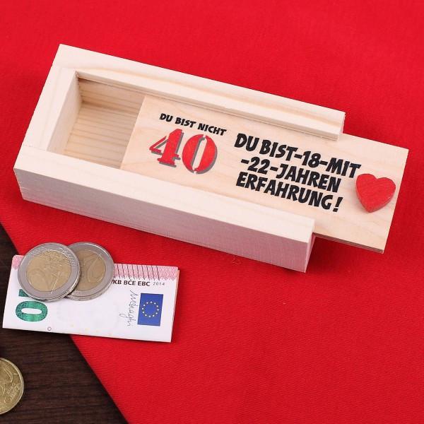Geschenkideen Zum 40 Geburtstag  Geldgeschenk zum 40 Geburtstag in Holzkiste