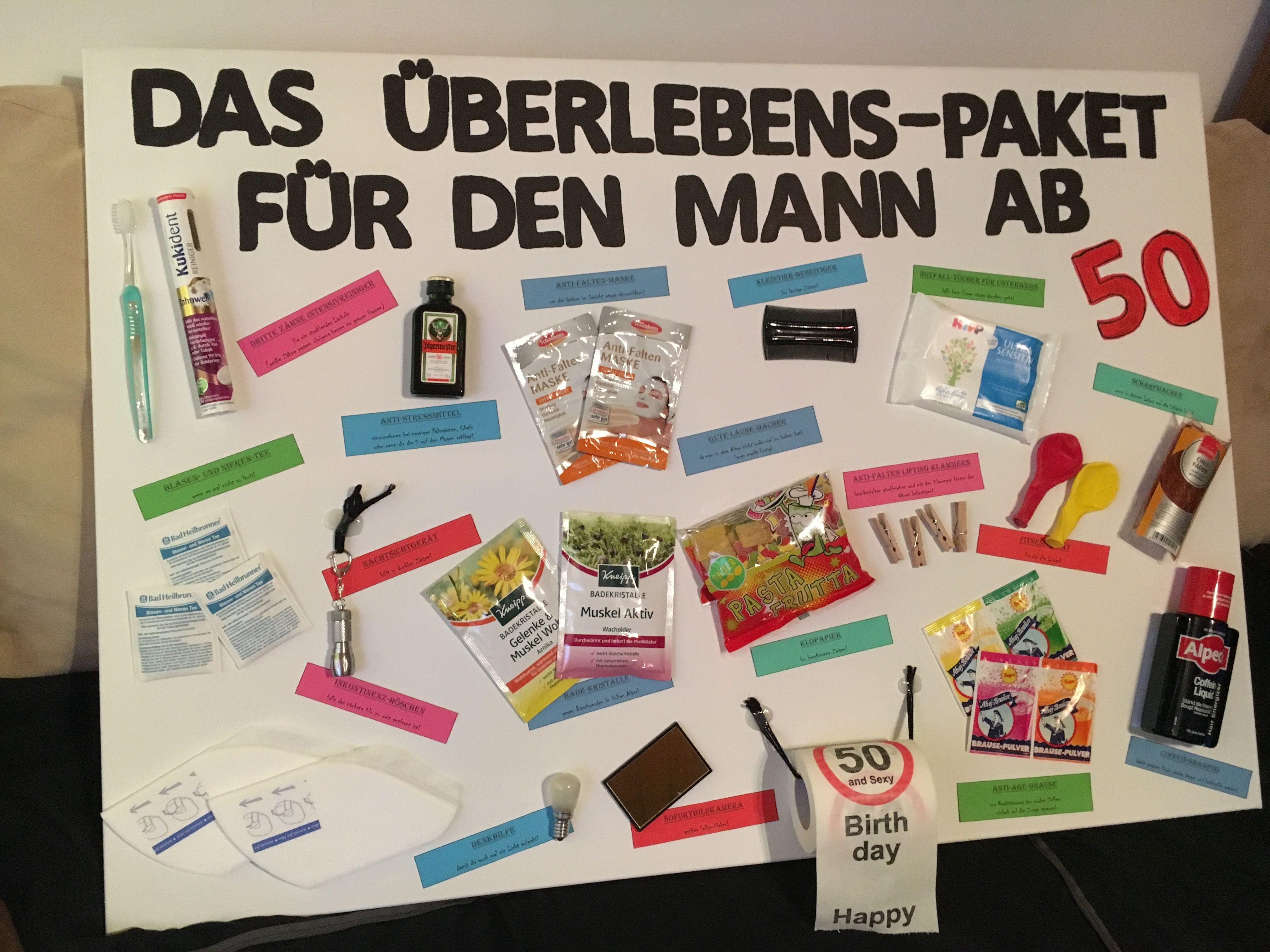 Geschenkideen Zum 50 Geburtstag Mann  Das Überlebenspaket für den Mann ab 50