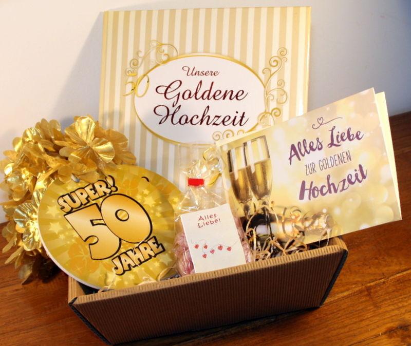Geschenkideen Zur Goldenen Hochzeit  Goldene Hochzeit Geschenke Set Goldhochzeit Geschenkideen