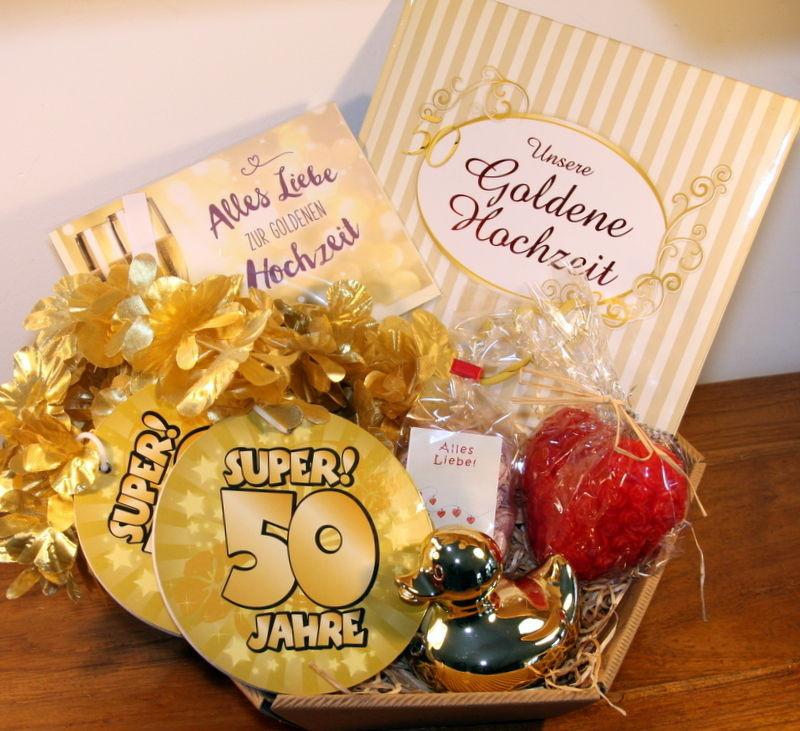 Geschenkideen Zur Goldenen Hochzeit  Goldene Hochzeit Geschenkkorb Geschenke Goldhochzeit