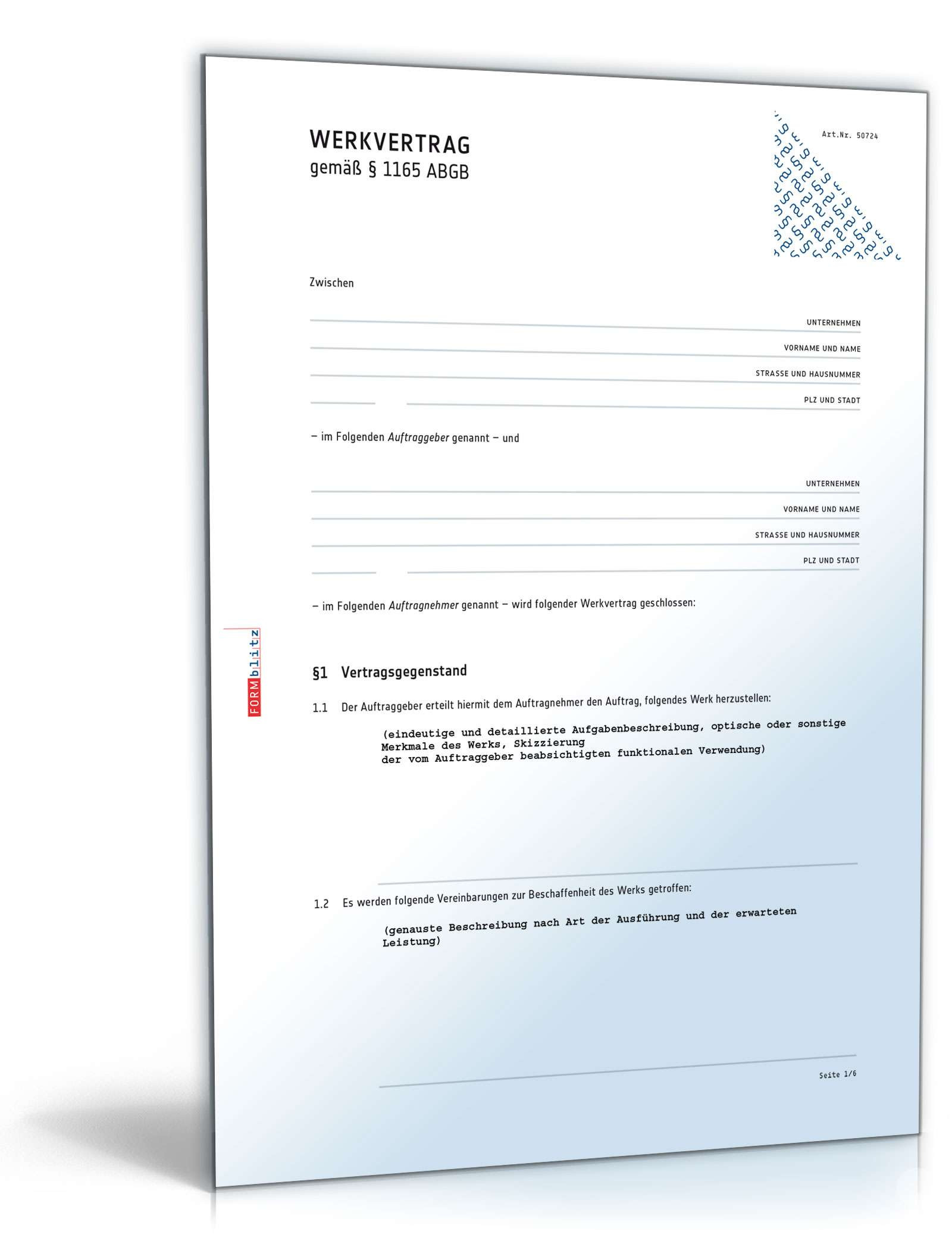 Gewährleistung Handwerk  Werkvertrag Muster Vorlage zum Download
