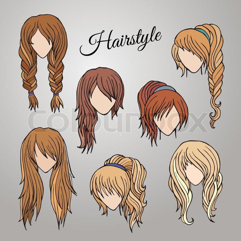 Gezeichnete Frisuren  Verschiedene Cartoon Frisuren Vektorgrafik