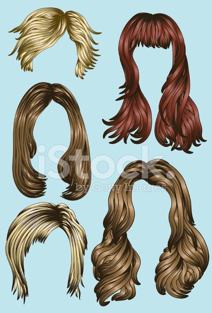 Gezeichnete Frisuren  Various Hair Illustrations Stock Vector Free