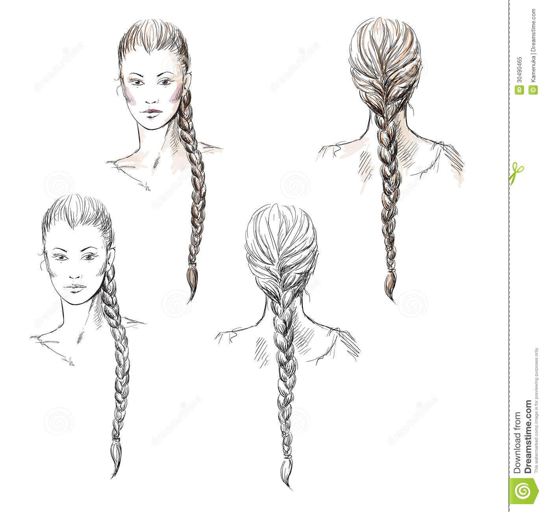Gezeichnete Frisuren  Girl With A Braid Hand drawn Stock Vector Illustration