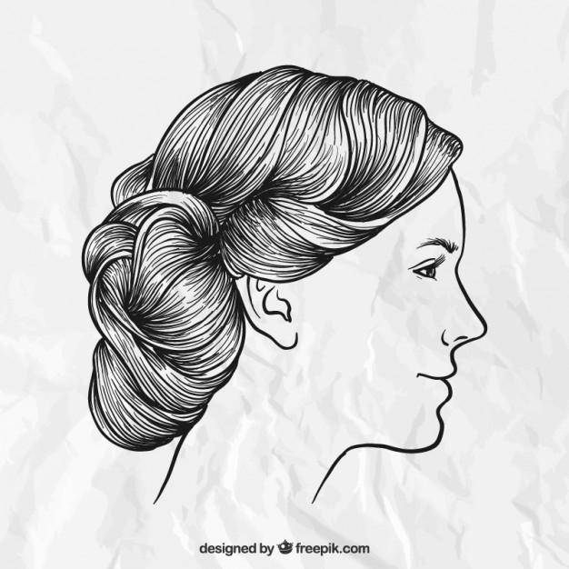 Gezeichnete Frisuren  Hand gezeichnete weibliche Frisur