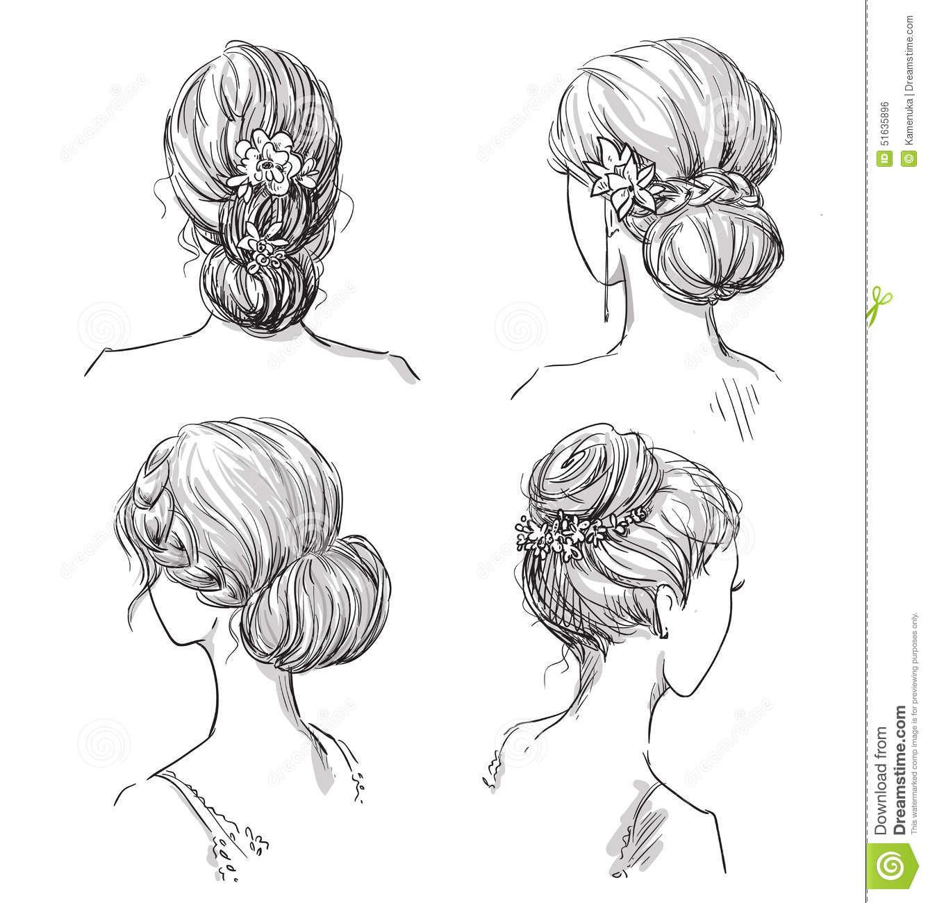 Gezeichnete Frisuren  Set Frisuren Brautfrisur Hand Gezeichnet Vektor Abbildung
