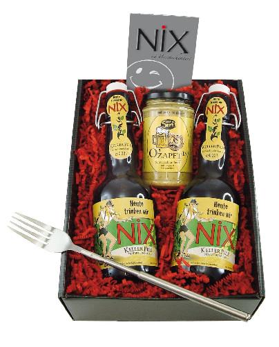 "Grill Geschenke  Grill Geschenkbox ""Nix"" Kellerpils Schwarzbier Senf"