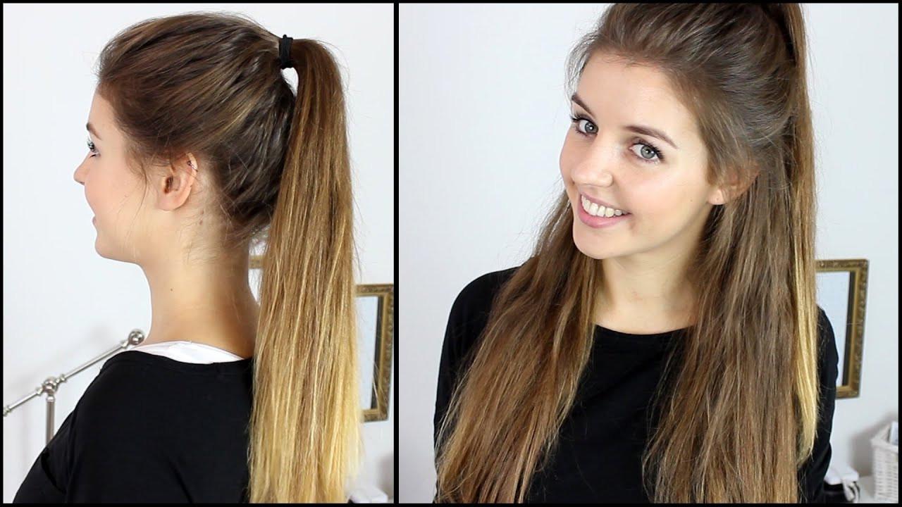 Halboffene Frisuren  Hoher Zopf Halboffene Frisur mit Extensions
