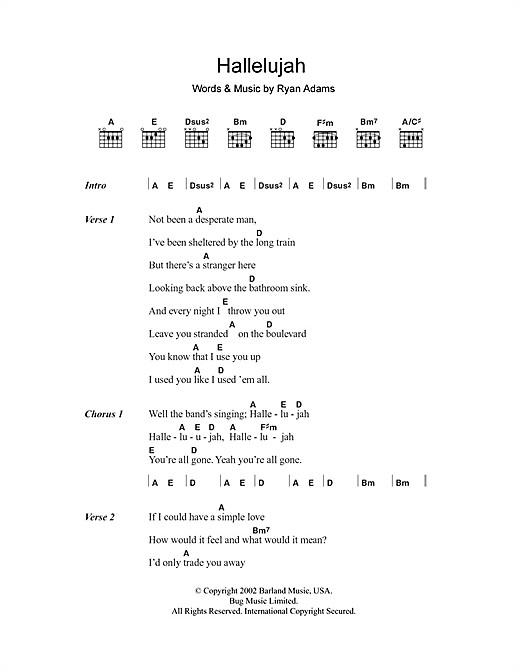 Hallelujah Text Hochzeit  Hallelujah noten von Ryan Adams Text & Akkorde –