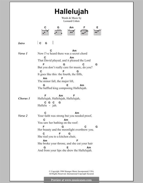 Hallelujah Text Hochzeit  Hallelujah von L Cohen Noten auf MusicaNeo