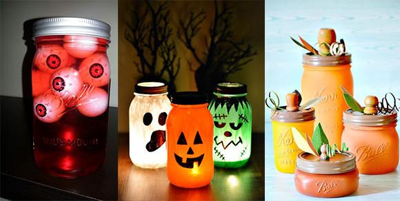 Halloween Geschenke  DIY Bastelideen fürs Gruselfest Halloween Einmachgläser
