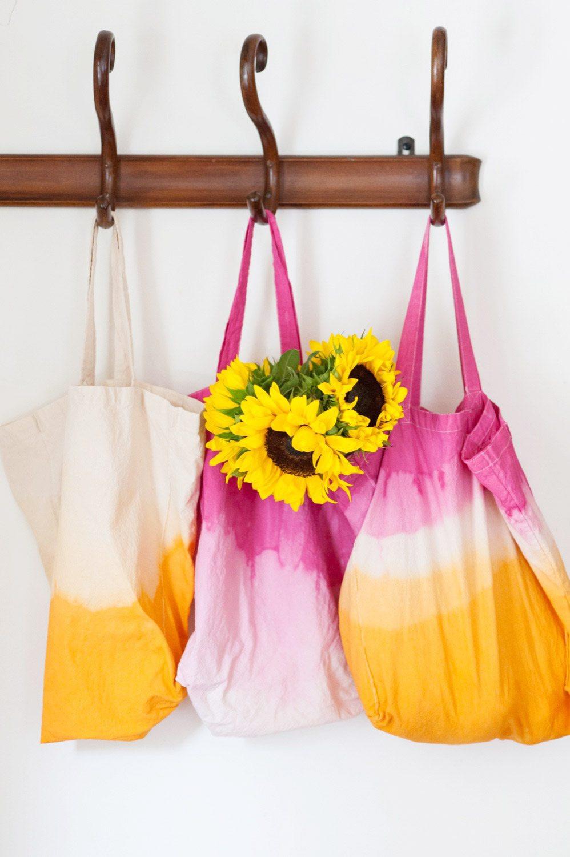 Handbad Diy  DIY Dip Dye Market Tote Bag The Sweetest Occasion