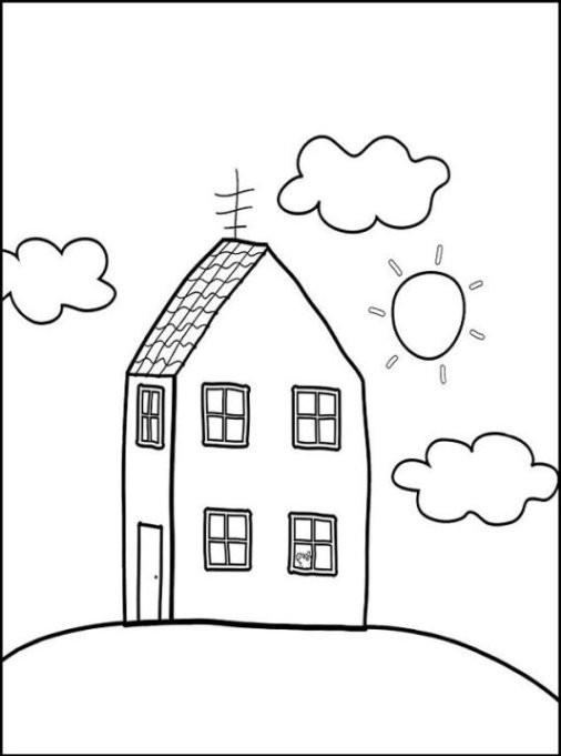 Haus Ausmalbild  Ausmalbilder zum Drucken Malvorlage Haus kostenlos 3