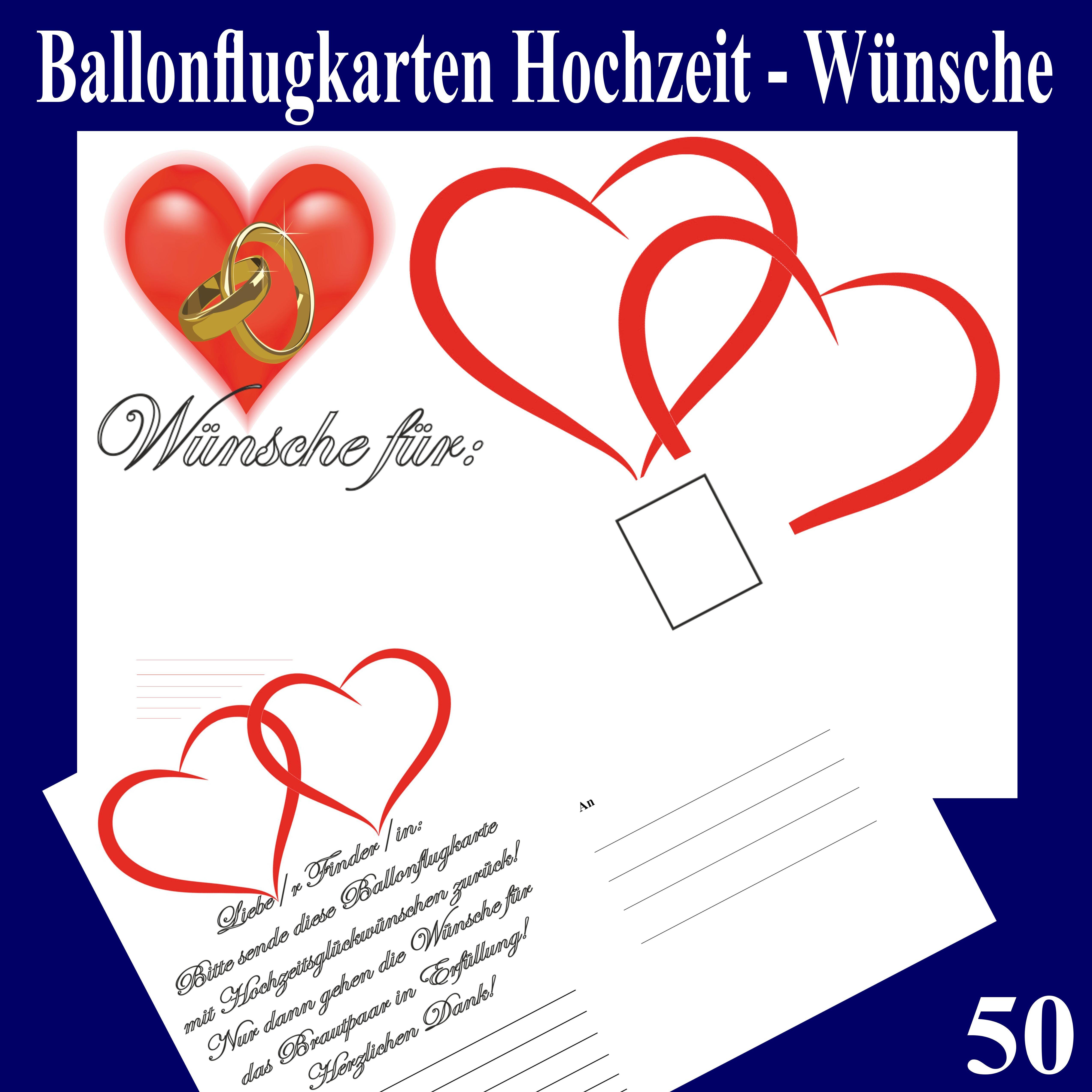 Hochzeit Wünsche Karte  Ballonsupermarkt lineshop Ballonflugkarten Hochzeit