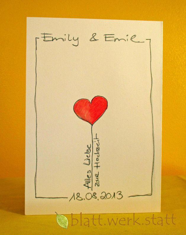 Hochzeit Wünsche Karte  Glückwunschkarte Hochzeit individuell handgemalt