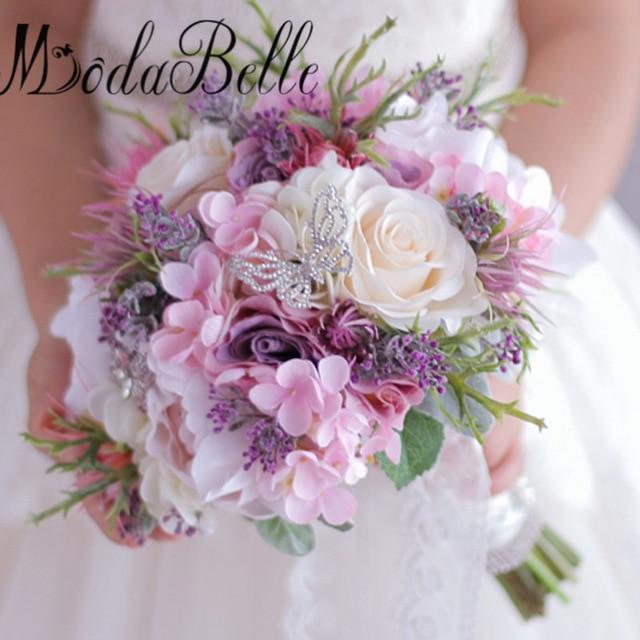 Hortensien Brautstrauß  2017 künstliche Blumen Brautstrauß Lila Rosa Hortensien