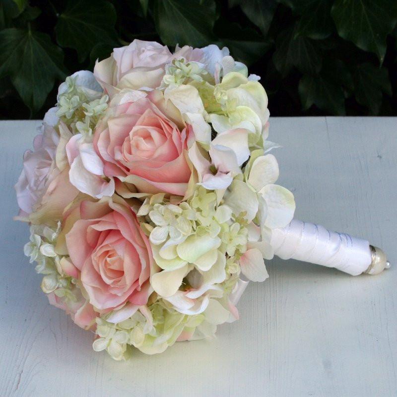 Hortensien Brautstrauß  Brautstrauß Seidenblumen lachs Rosen