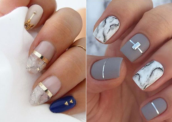 Ideen Für Nageldesign  nagelschmuck ideen in silber und gold für attraktives