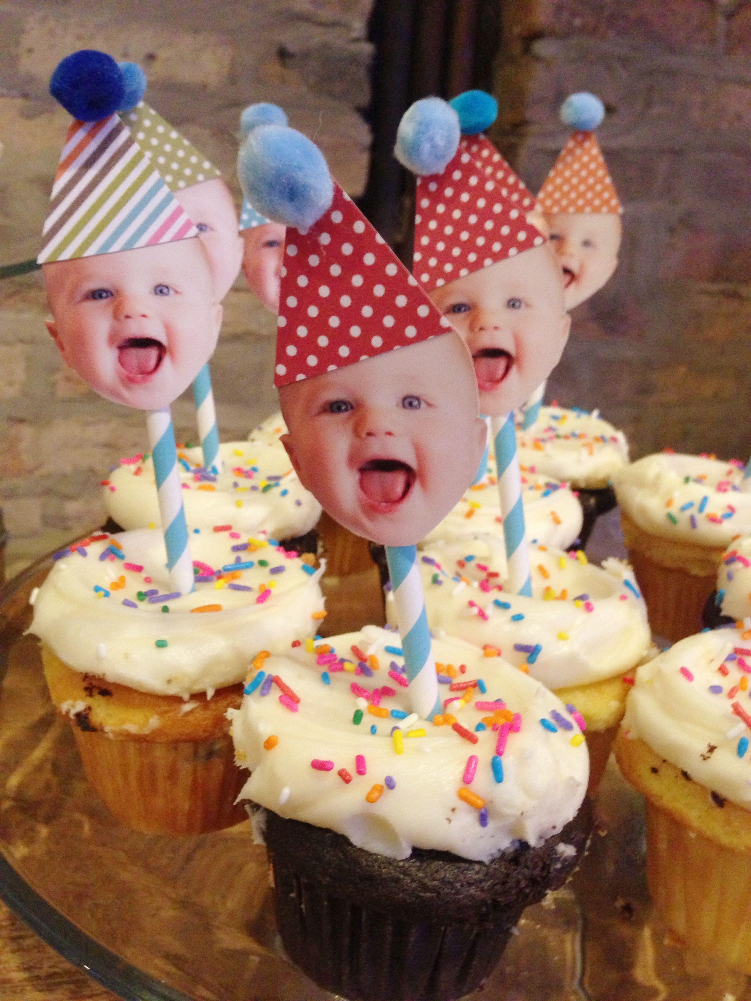 Ideen Geburtstagsfeier Erwachsene  Easiest DIY Cupcake Toppers for a first birthday party