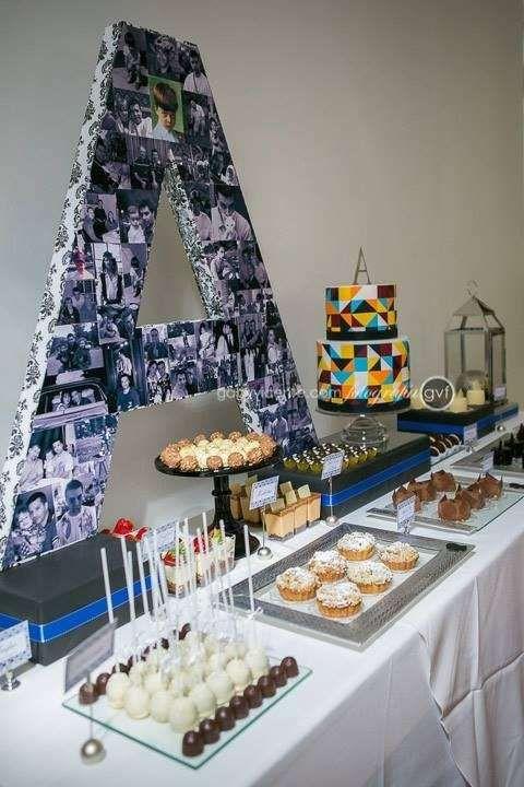 Ideen Geburtstagsfeier Erwachsene  50 s Birthday blue black and silver party adult party