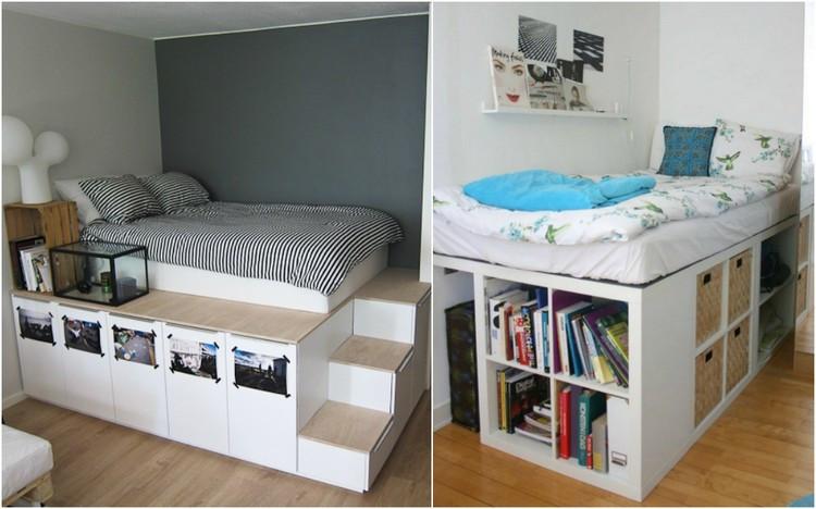 Ikea Diy Bett  Hochbett selber bauen mit Ikea Möbeln Betten mit Stauraum