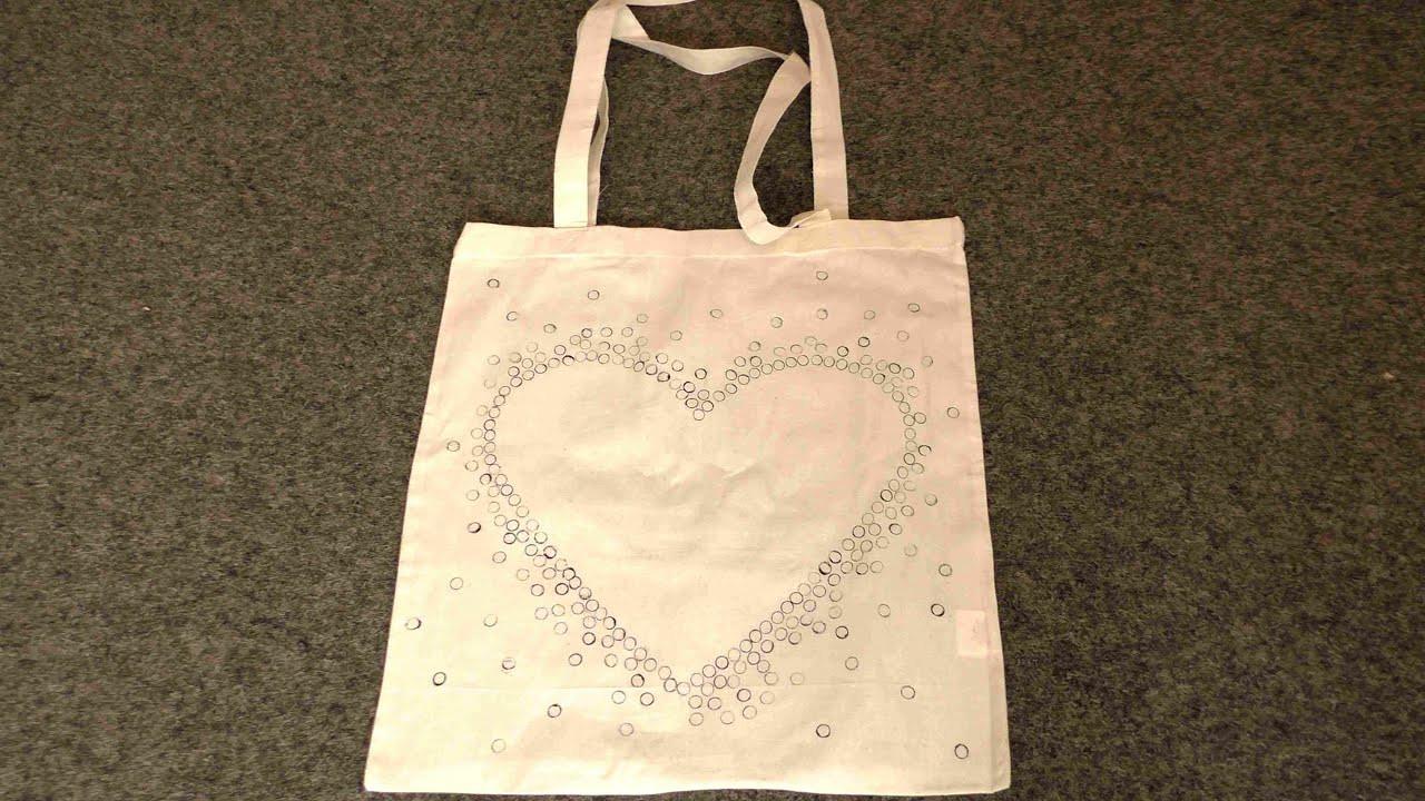 Jutebeutel Diy  DIY Bag Jutebeutel Baumwolltasche gestalten Technik