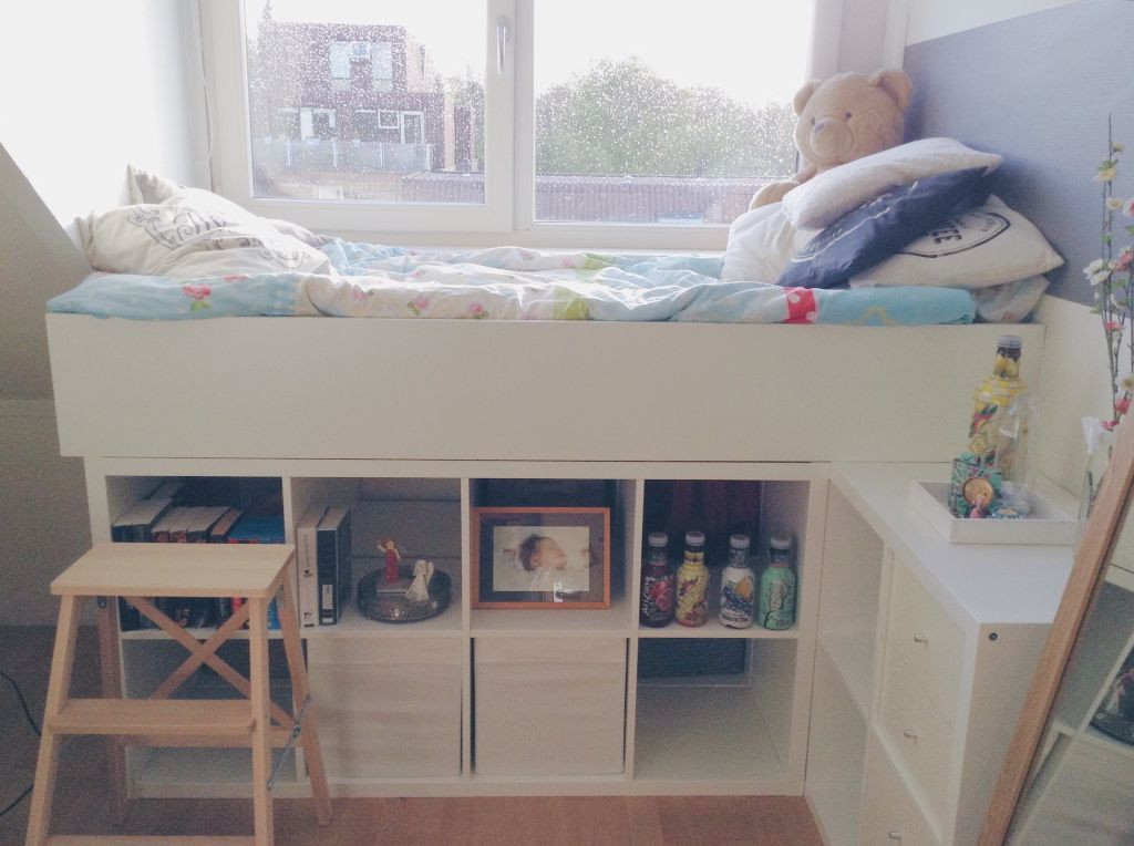 Kallax Bett Diy  Bed made out of 3 Kallax closets and a Billy closet from