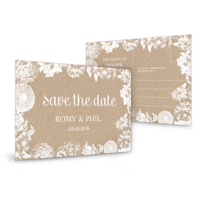 Karten Sprüche Zur Hochzeit  Save the Date Karte zur Hochzeit im Kraftpapierstil mit