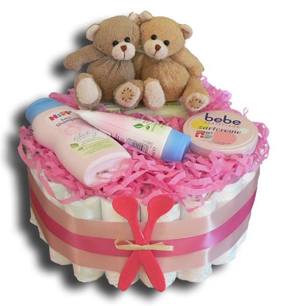 Kleine Geschenke Zur Geburt  Zwillinge Windeltorte Mädchen klein Geschenk zur Geburt