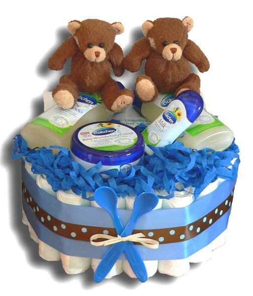Kleine Geschenke Zur Geburt  Zwillinge Windeltorte Jungen klein Geschenk zur Geburt