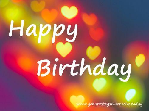 Kostenlose Geburtstagswünsche  Bild Happy Birthday mit bunten Herzen