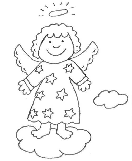 Kostenlose Malvorlagen Weihnachten  Kostenlose Malvorlage Weihnachten Engel auf einer Wolke