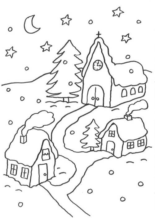 Kostenlose Malvorlagen Weihnachten  Kostenlose Malvorlage Weihnachten Verschneites Dorf zum