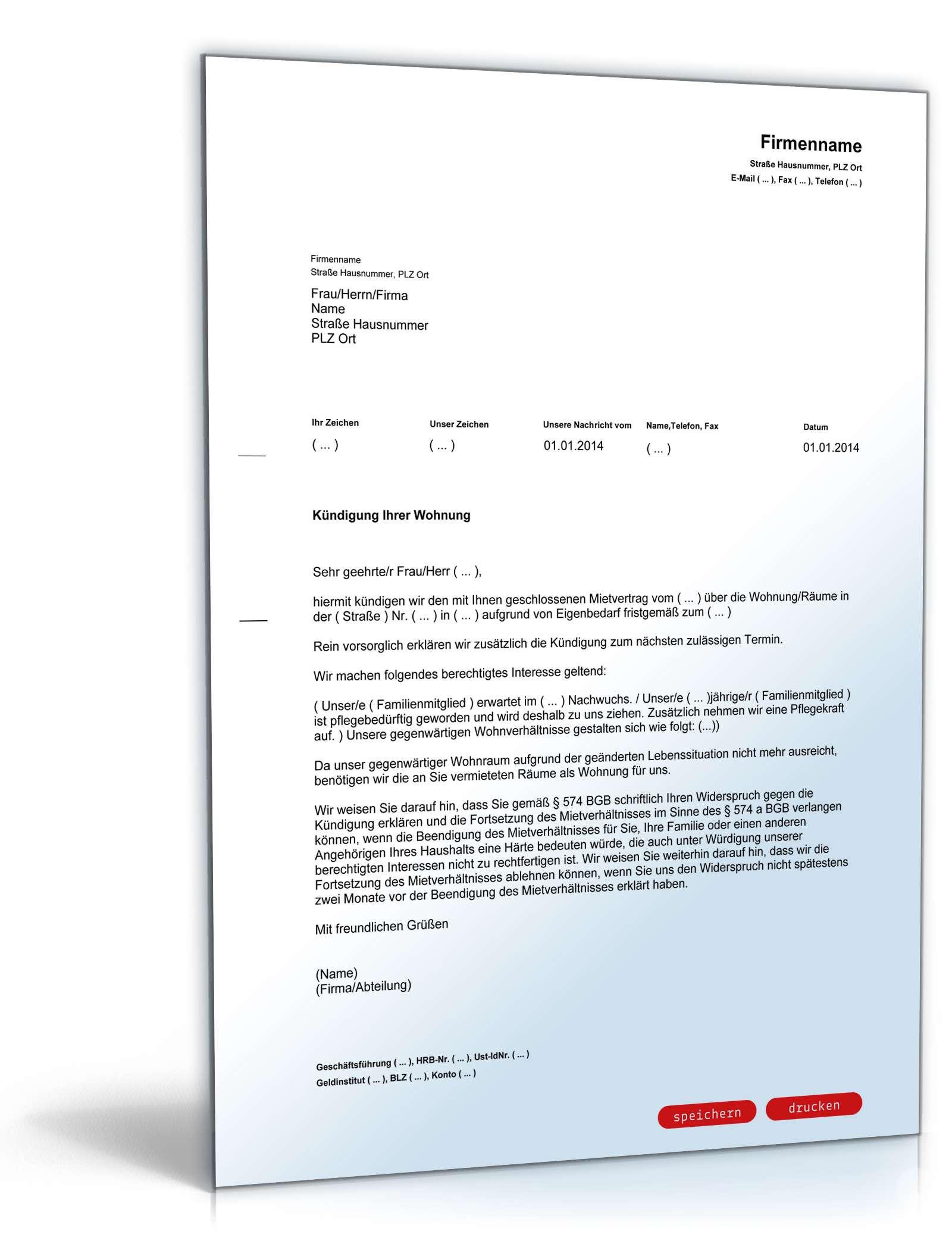 Kündigungsfrist Handwerk  Kündigung Mietvertrag Eigenbedarf Muster zum Download