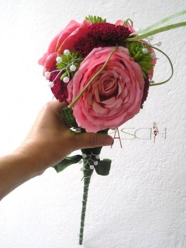 Künstlicher Brautstrauß  Brautstrauß Zepter Strauß Hochzeit rosa dunkelrot grün