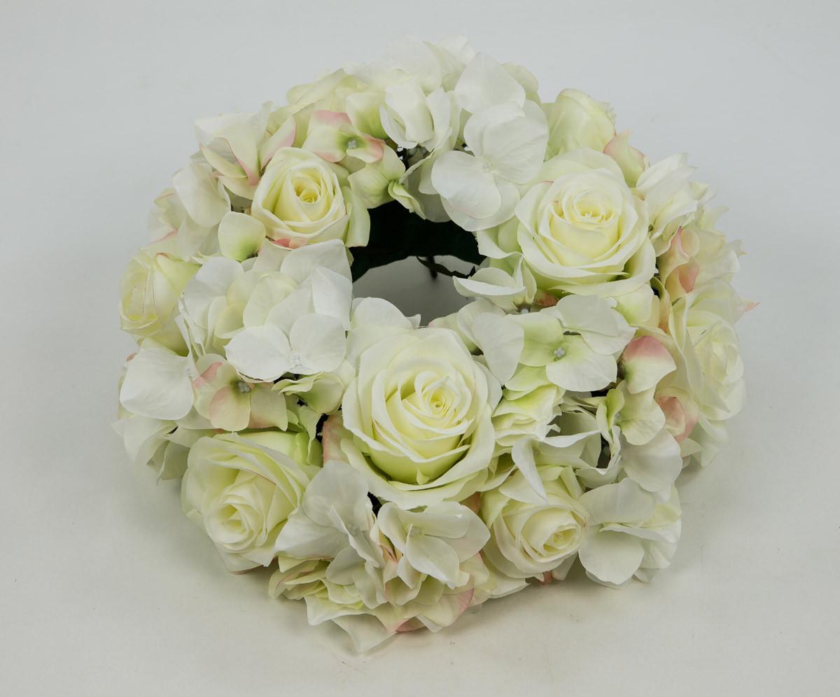 Künstlicher Brautstrauß  Rosen Hortensienkranz 30cm weiß creme CG künstlicher