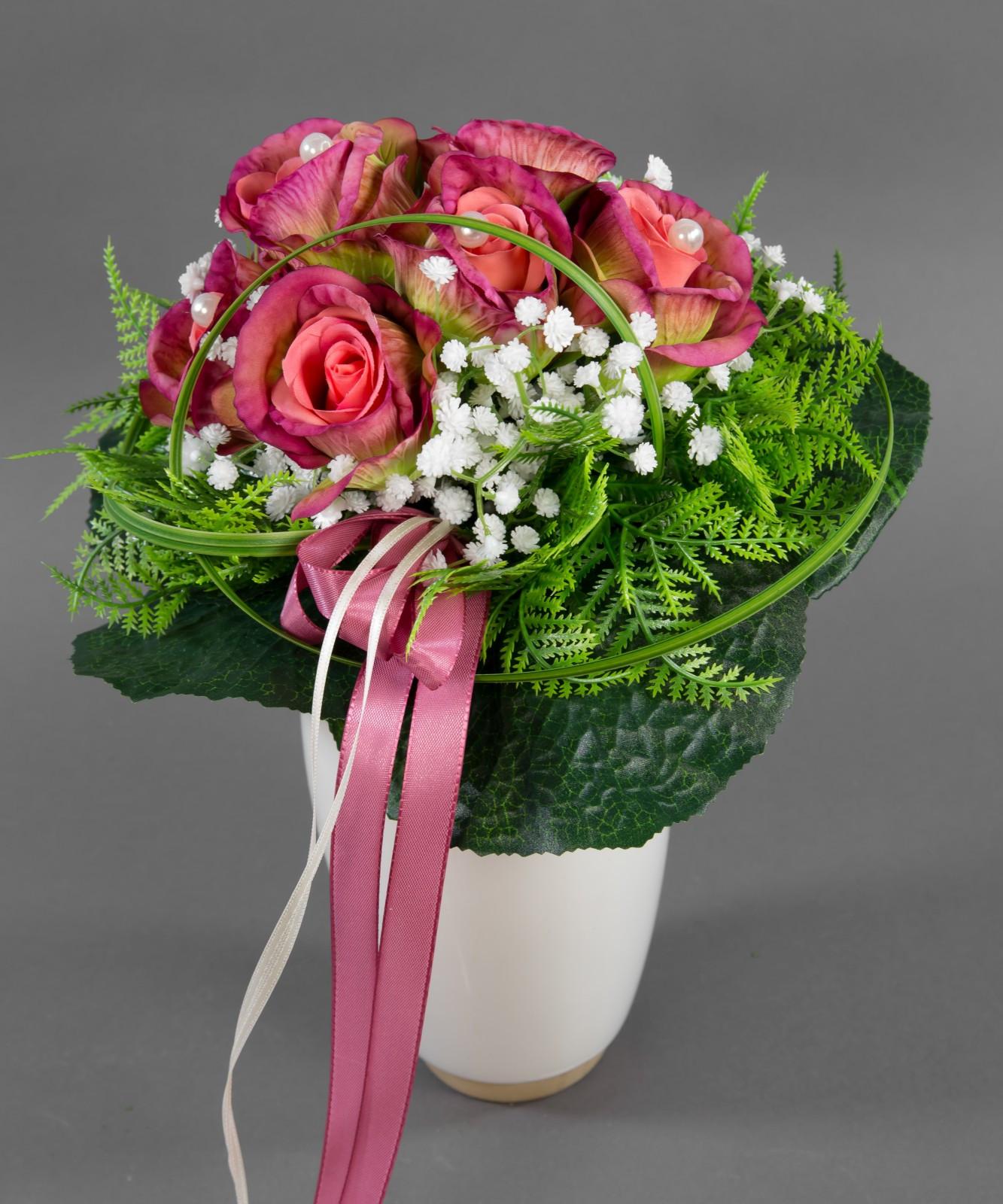 Künstlicher Brautstrauß  Brautstrauß rosa fuchsia grün mit Rosen Kunstblumen