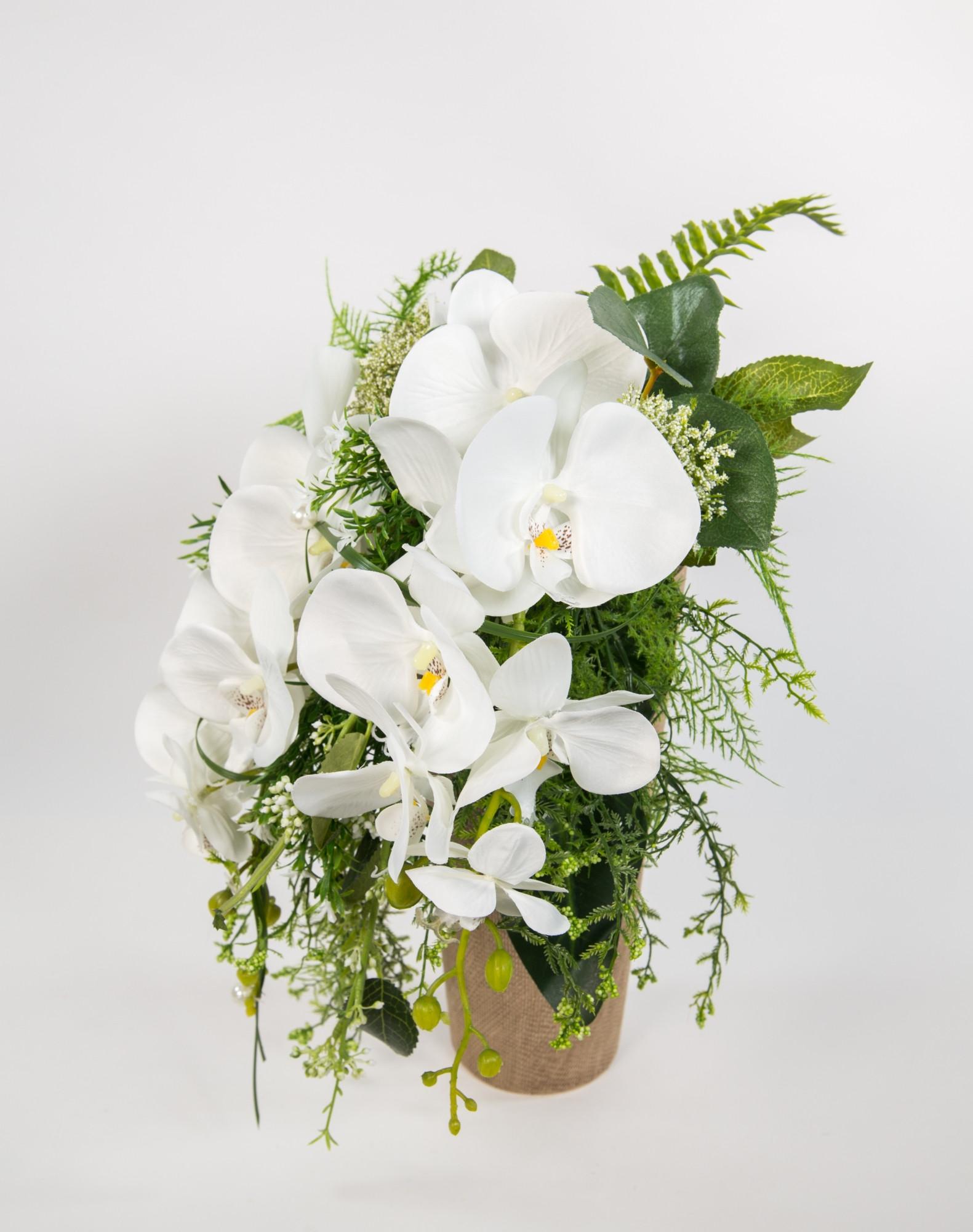 Künstlicher Brautstrauß  Orchideenstrauß Brautstrauß weiß Kunstblumen