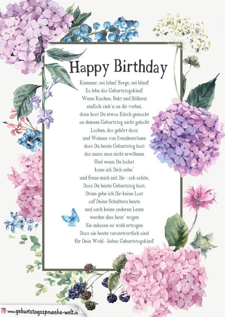 Kurze Geburtstagsglückwünsche  Fröhliches Gedicht zum Geburtstag Geburtstag