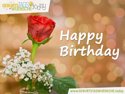 """Liebevolle Geburtstagssprüche  Geburtstagswünsche schönes Bild """"Rote Rose"""""""