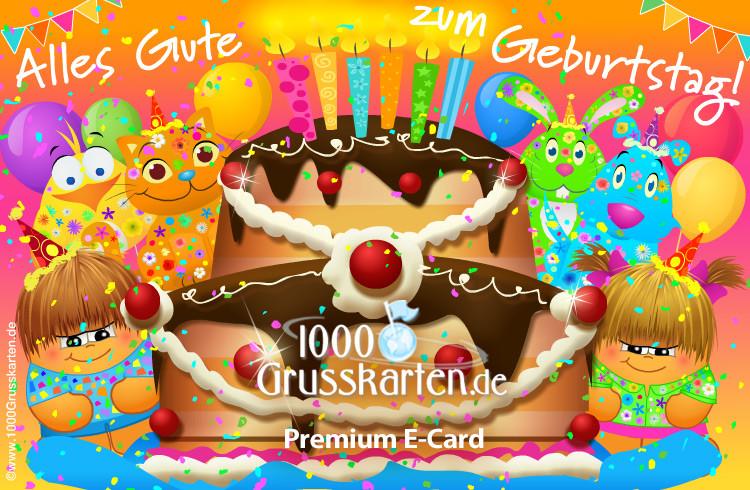 Lustige Animierte Geburtstagskarten Kostenlos  Geburtstagskarte mit Kuchen Geburtstag E Cards