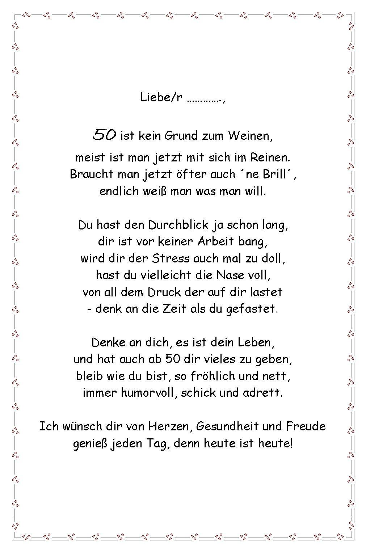 Lustige Geburtstagsgedichte Zum 50  Lustige Geburtstagsgedichte Zum 50 Frau