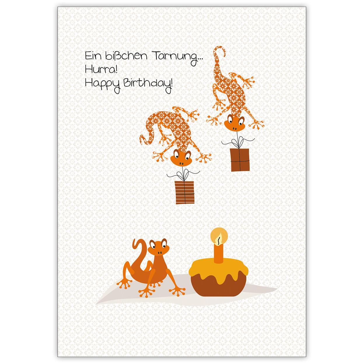 Lustige Geburtstagskarten  Lustige Geburtstagskarte mit coolen Geckos Ein bißchen