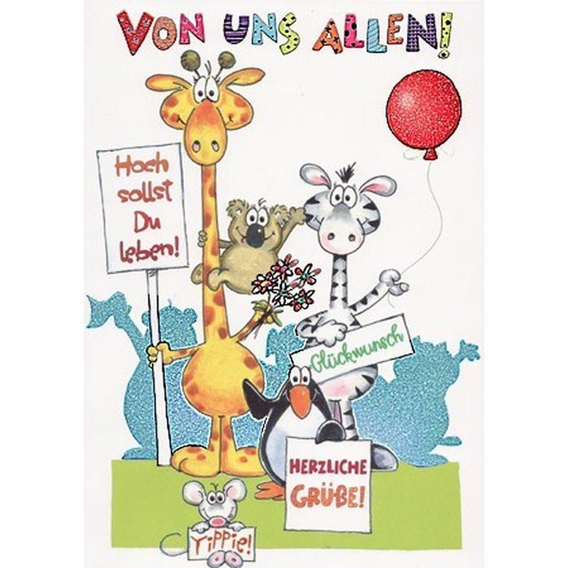 Lustige Geburtstagskarten  XXL Maxi Geburtstagskarte von uns allen Lustige Tiere mit